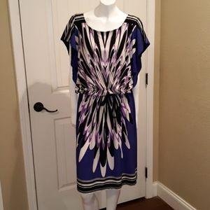 EUC Olivia Matthews Purple/Wht/Blk Print Dress 12